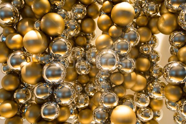 Gouden christmas decoratie guirlande kralen vakantie Stockfoto © dolgachov