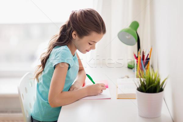 Gelukkig meisje boek schrijven notebook home mensen Stockfoto © dolgachov