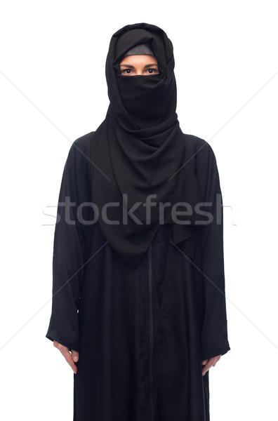 Muslim donna hijab bianco religiosa persone Foto d'archivio © dolgachov
