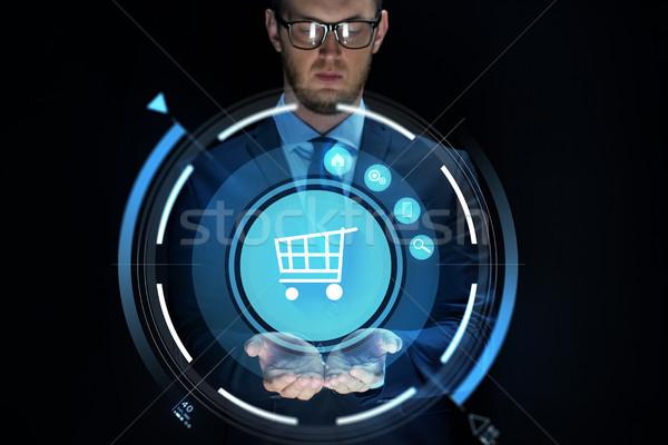 Affaires panier projection affaires ecommerce Photo stock © dolgachov