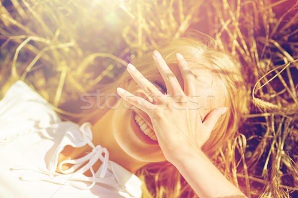 Heureux jeune femme céréales domaine nature été Photo stock © dolgachov