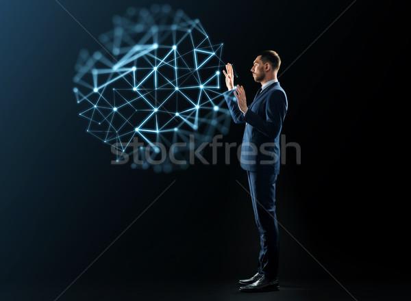 Biznesmen faktyczny niski projekcja business network ludzi Zdjęcia stock © dolgachov