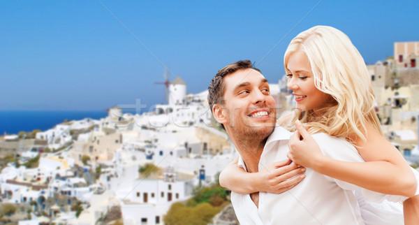 Boldog pár ölel Santorini sziget utazás Stock fotó © dolgachov