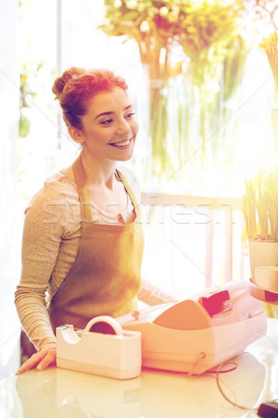 Sonriendo florista mujer personas negocios Foto stock © dolgachov