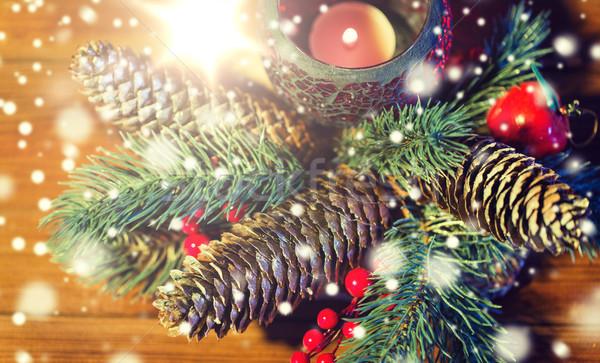 Noël sapin branche décoration bougie lanterne Photo stock © dolgachov