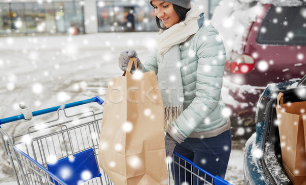 customer loading food from shopping cart to car Stock photo © dolgachov