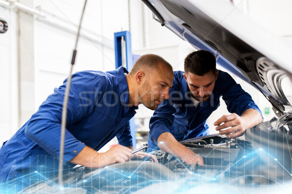 mechanic men with wrench repairing car at workshop Stock photo © dolgachov
