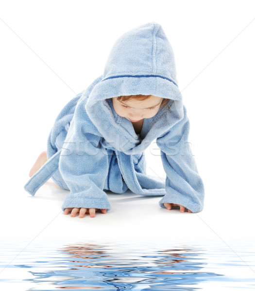 baby boy in blue robe Stock photo © dolgachov