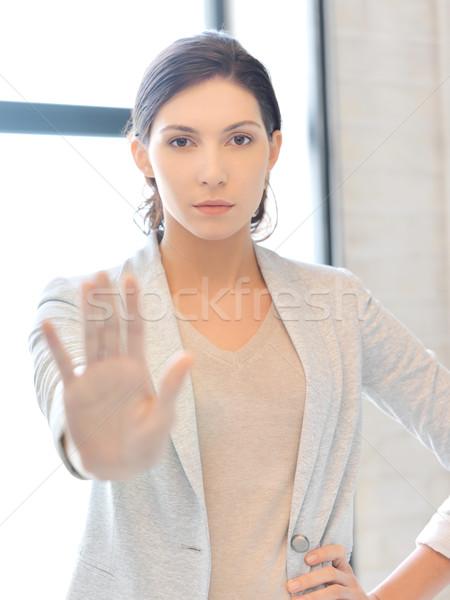 Stock fotó: Fiatal · nő · készít · stop · kézmozdulat · kép · üzlet