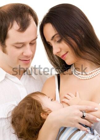 Pár szeretet kép fehér fókusz nő Stock fotó © dolgachov