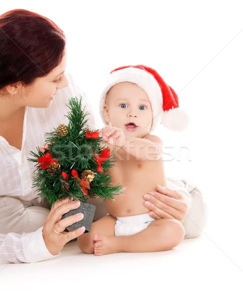 Сток-фото: ребенка · матери · Рождества · подарки · белый · семьи