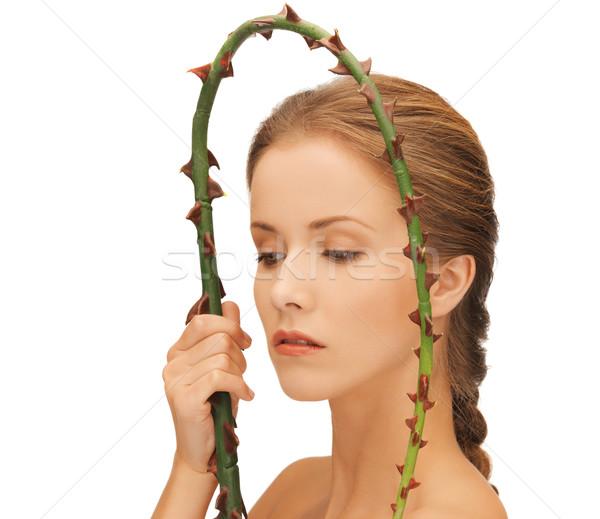 Mulher ramo quadro cara saúde Foto stock © dolgachov