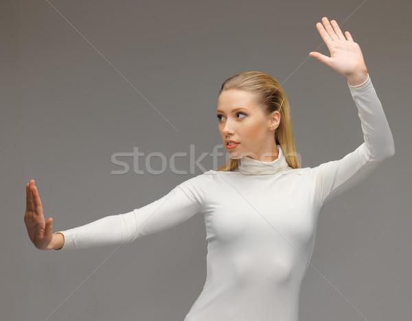 Photo stock: Femme · travail · quelque · chose · imaginaire · photos · futuriste