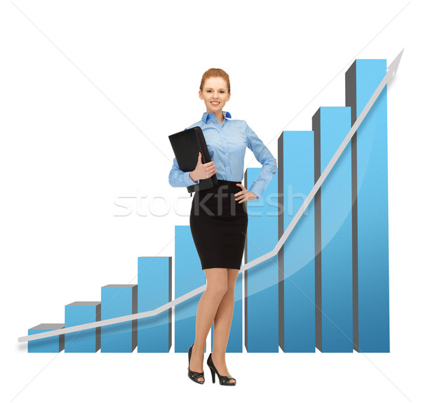 businesswoman with big 3d chart and folder Stock photo © dolgachov