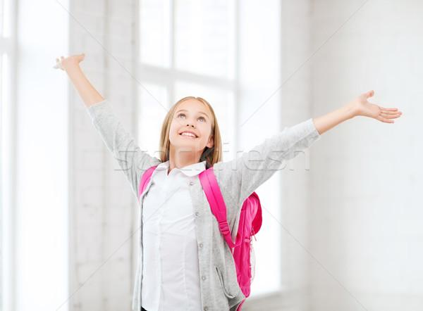 Student meisje handen omhoog school onderwijs weinig Stockfoto © dolgachov