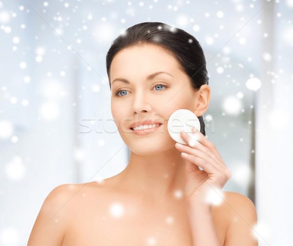 красивая женщина хлопка здоровья красоту женщину лице Сток-фото © dolgachov