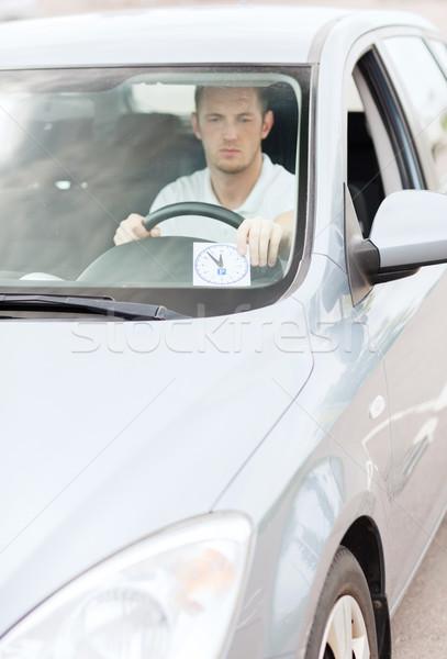 Férfi parkolás óra autó műszerfal közlekedés Stock fotó © dolgachov