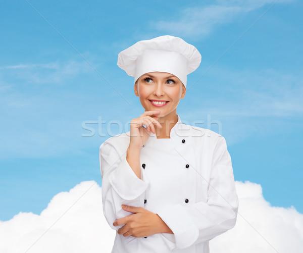 Stock fotó: Mosolyog · női · szakács · álmodik · főzés · étel