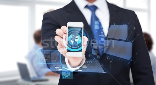 Сток-фото: бизнесмен · смартфон · экране · бизнеса · интернет