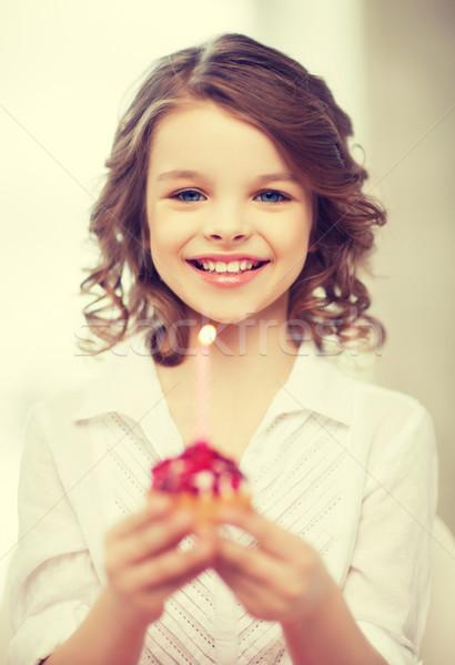 girl with cupcake Stock photo © dolgachov