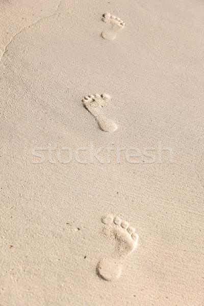 Voetafdrukken zand reizen avontuur strand zomer Stockfoto © dolgachov