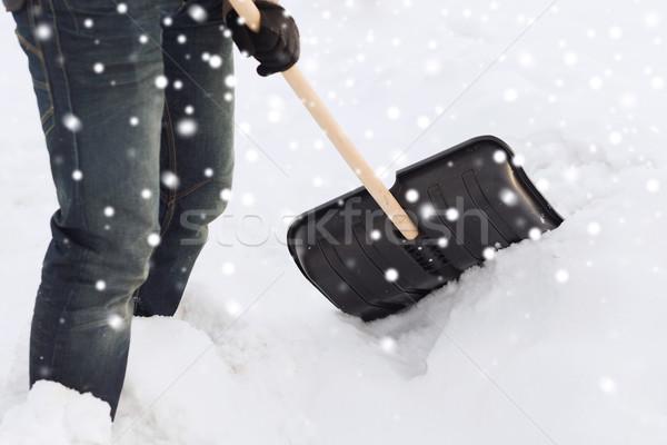 Homem neve pá transporte inverno Foto stock © dolgachov