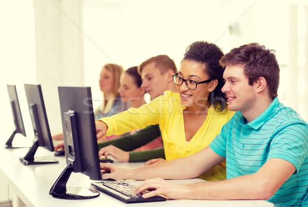 Mosolyog diákok számítógép osztály iskola oktatás Stock fotó © dolgachov