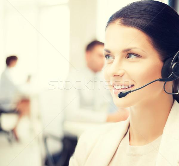 женщины телефон доверия оператор Call Center дружественный наушники Сток-фото © dolgachov