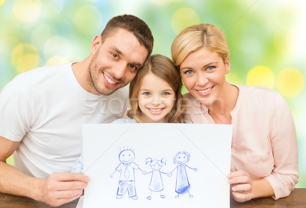 happy family with drawing or picture Stock photo © dolgachov