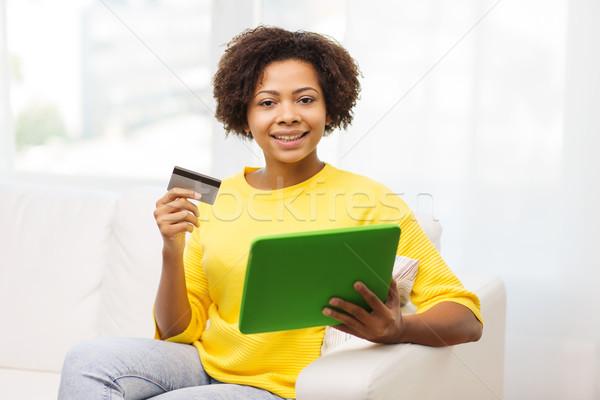 Foto stock: Feliz · África · mujer · tarjeta · de · crédito · personas