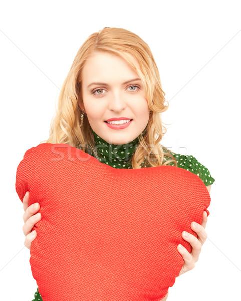 Mujer rojo almohada blanco feliz modelo Foto stock © dolgachov