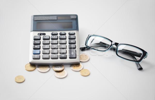 Rechner Gläser Euro Münzen Büro Tabelle Stock foto © dolgachov