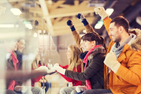 Feliz amigos viendo hockey juego patinaje Foto stock © dolgachov