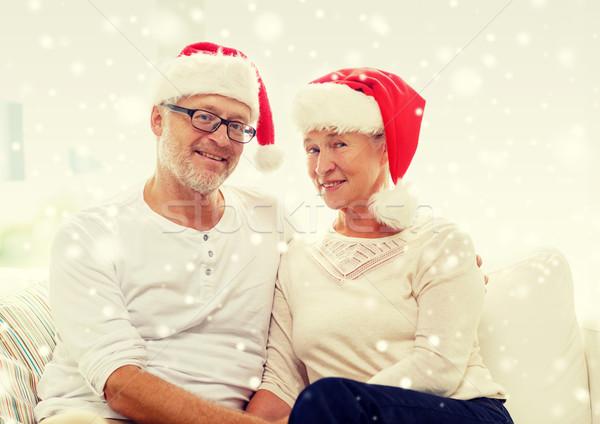 Gelukkig helper hoeden home Stockfoto © dolgachov