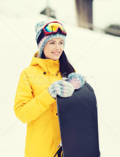 Gelukkig jonge vrouw snowboard buitenshuis winter recreatie Stockfoto © dolgachov