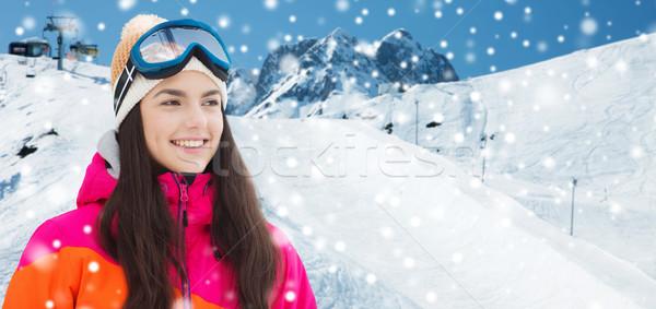 幸せ 若い女性 山 冬 レジャー ストックフォト © dolgachov