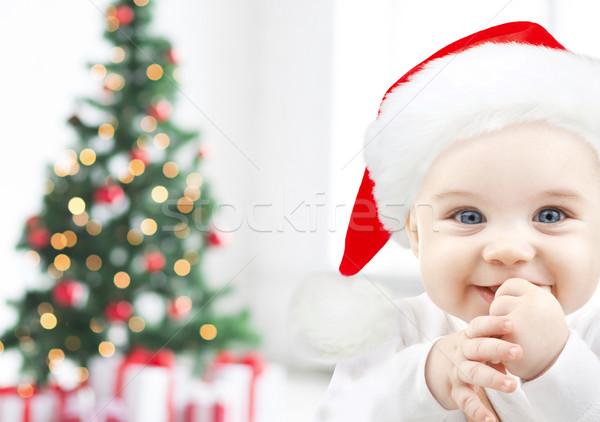 Gelukkig baby hoed kerstboom lichten Stockfoto © dolgachov