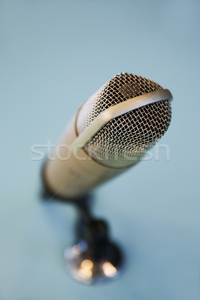 close up of microphone at recording studio  Stock photo © dolgachov