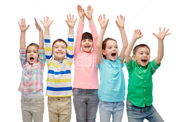 Szczęśliwy znajomych zwycięstwo dzieciństwo moda Zdjęcia stock © dolgachov