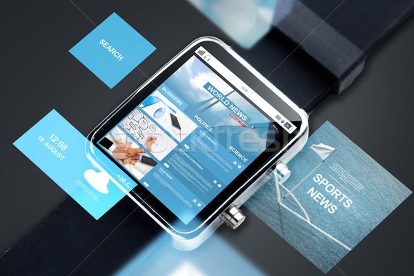 Akıllı izlemek web haber ekran Stok fotoğraf © dolgachov