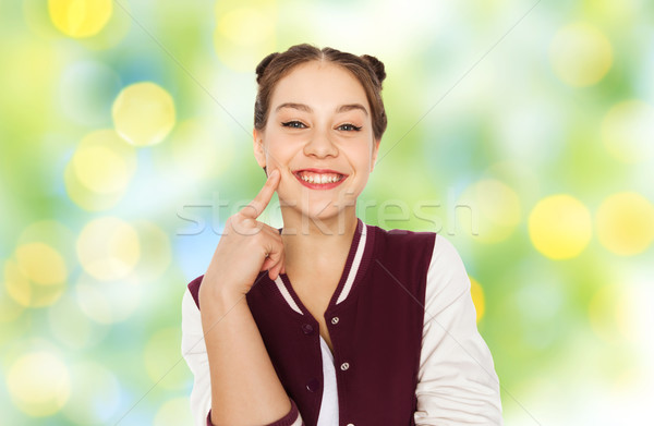 Gelukkig glimlachend mooie tienermeisje mensen tieners Stockfoto © dolgachov