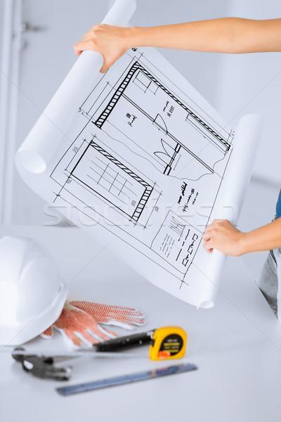 Planı esnek kask çekiç mimari ev Stok fotoğraf © dolgachov