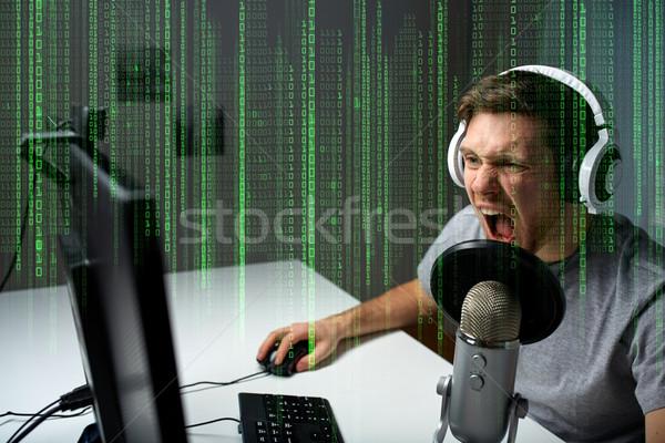 男 ヘッド 演奏 コンピュータ ビデオゲーム ホーム ストックフォト © dolgachov