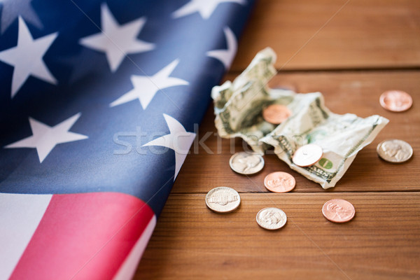 close up of american flag and money Stock photo © dolgachov