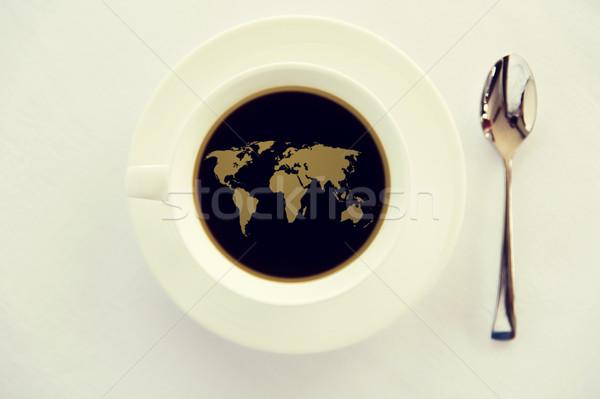 世界地図 カップ ブラックコーヒー スプーン ドリンク エネルギッシュな ストックフォト © dolgachov