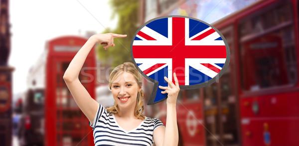 Vrouw tekst bubble Londen buitenlands Stockfoto © dolgachov