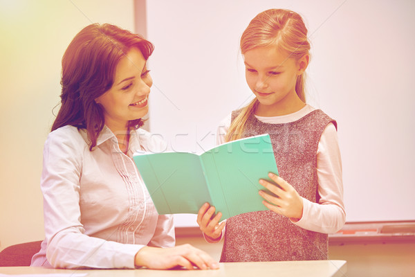 school girl with notebook and teacher in classroom Stock photo © dolgachov