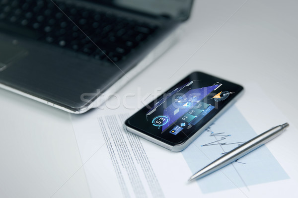 close up of smartphone with gps application Stock photo © dolgachov