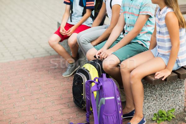 Escuela primaria estudiantes sesión banco primario educación Foto stock © dolgachov