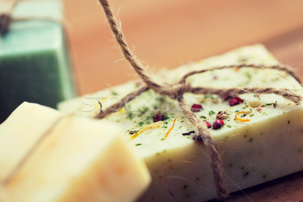 ручной работы мыло баров древесины Сток-фото © dolgachov